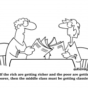 If the rich are getting richer and the poor are getting poorer, then the middle class must be getting classier!